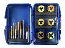 Juego De Machos Para Roscar y Dados Para Reparar Roscas Por 13 Pzas. De Titanio (M3-M4-M5-M6-M8-M10) GUILLER