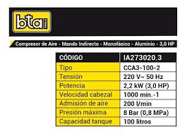 COMPRESOR AIRE 100LTS 3.0 HP CORREA BTA