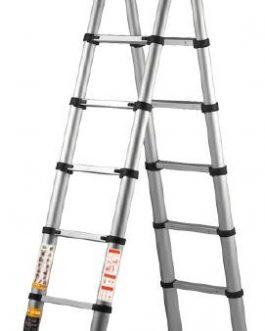 Escalera De Aluminio Telescopica 3 Funciones 12 Escalones 3.68mts FGP