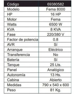 Grupo Electrógeno Generador 6500W 380V (Trifásico) FEMA